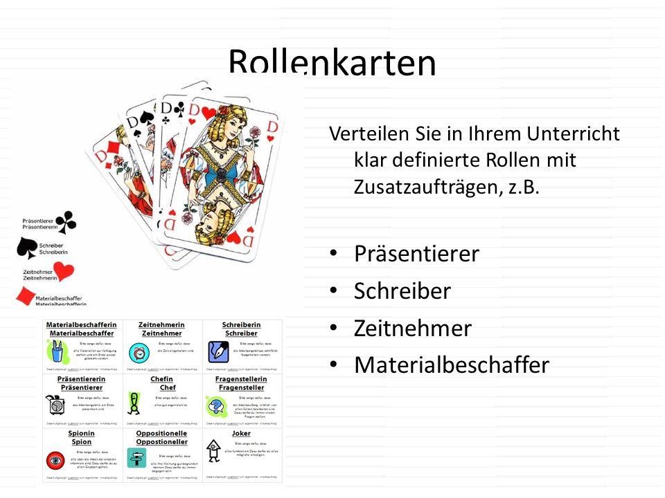 Rollenkarten Präsentierer Schreiber Zeitnehmer Materialbeschaffer