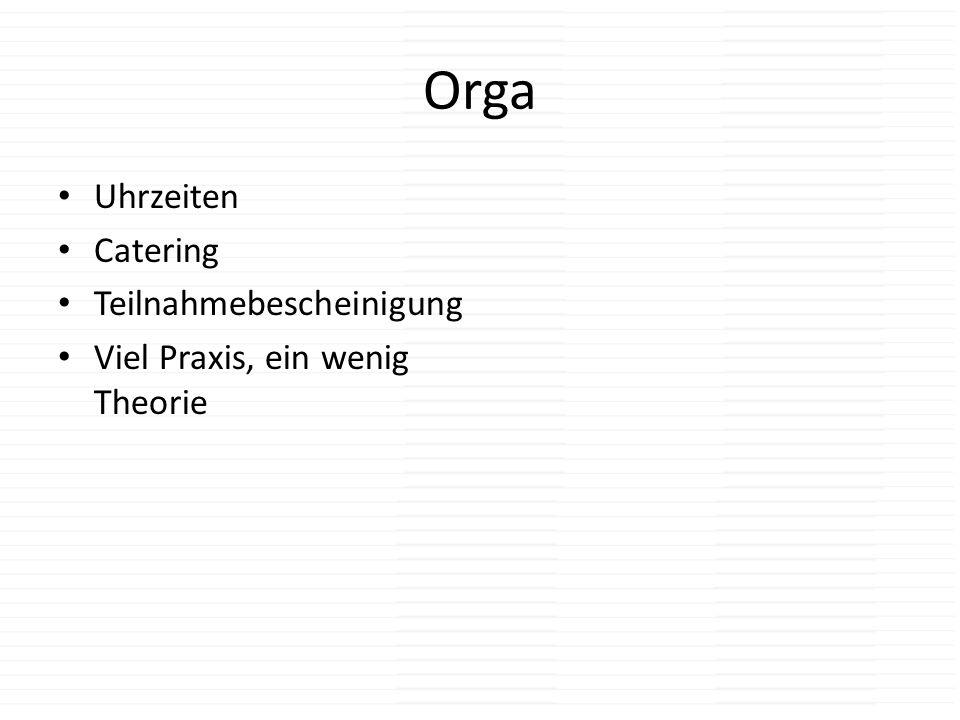 Orga Uhrzeiten Catering Teilnahmebescheinigung
