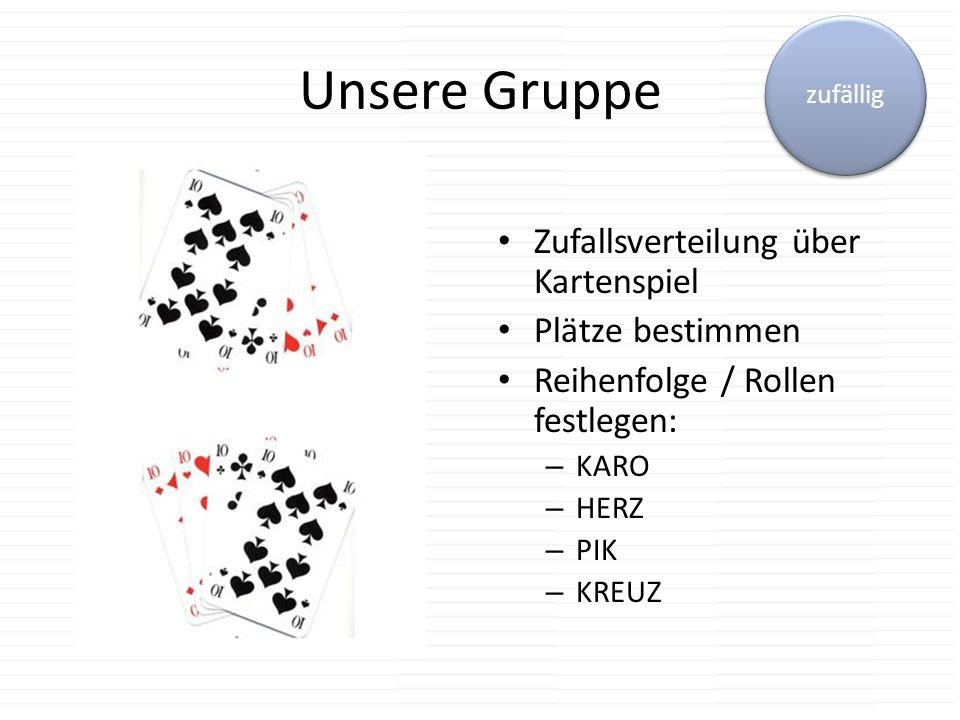 Unsere Gruppe Zufallsverteilung über Kartenspiel Plätze bestimmen