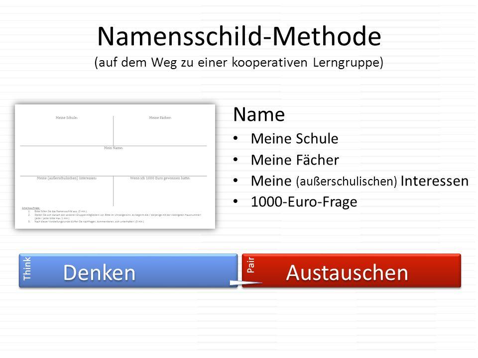Namensschild-Methode (auf dem Weg zu einer kooperativen Lerngruppe)