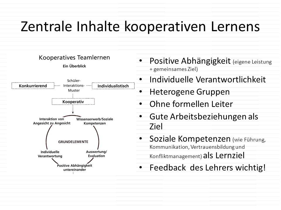 Zentrale Inhalte kooperativen Lernens