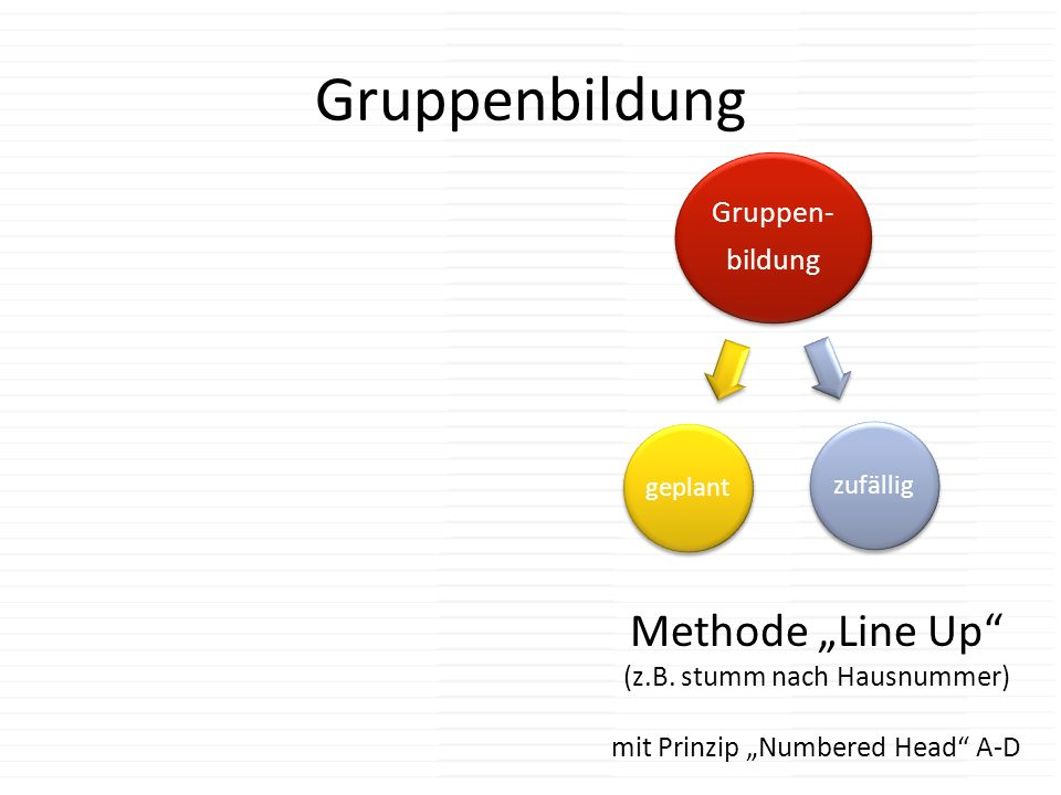 "Gruppenbildung Methode ""Line Up (z.B. stumm nach Hausnummer)"
