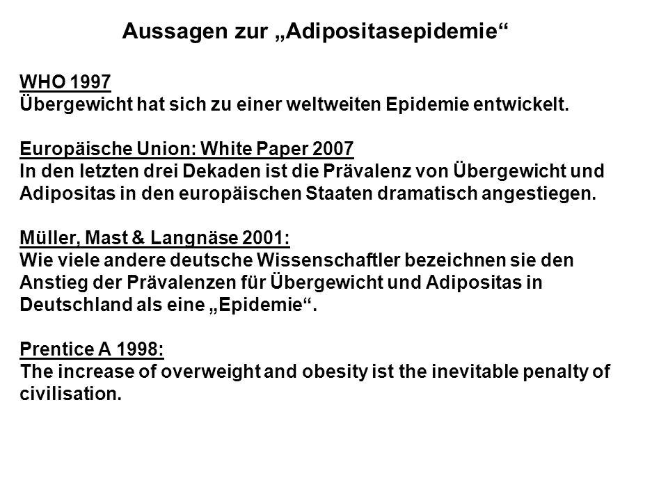 """Aussagen zur """"Adipositasepidemie"""
