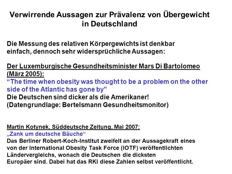 Verwirrende Aussagen zur Prävalenz von Übergewicht