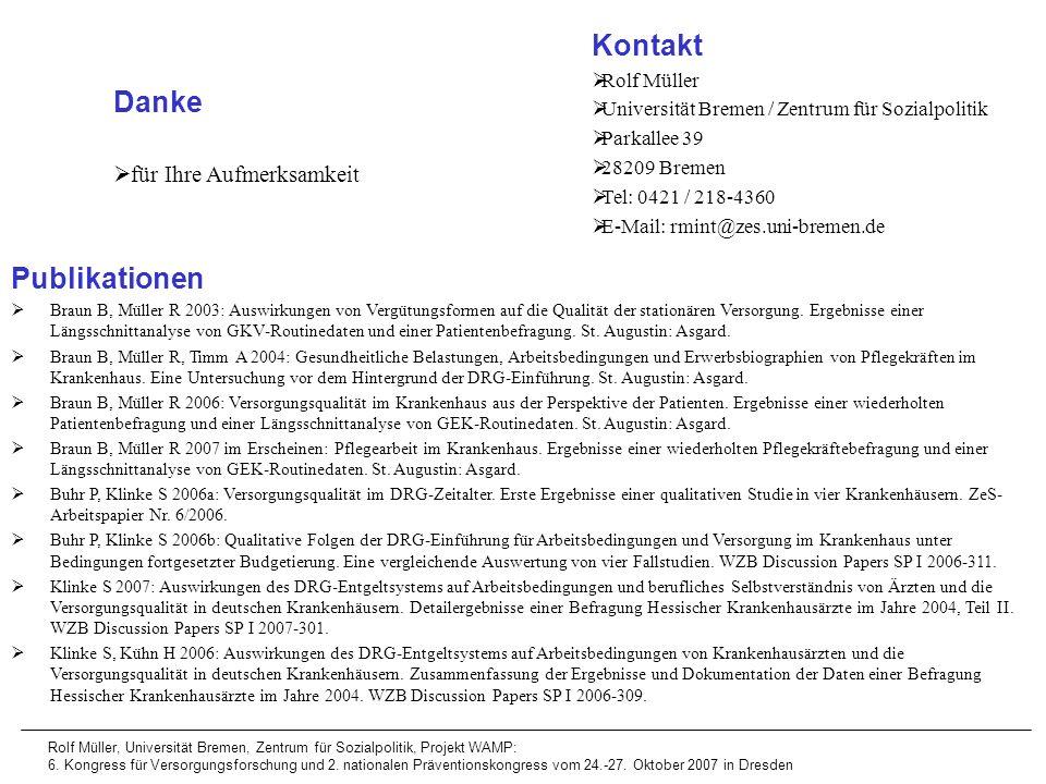 Kontakt Danke Publikationen für Ihre Aufmerksamkeit Rolf Müller