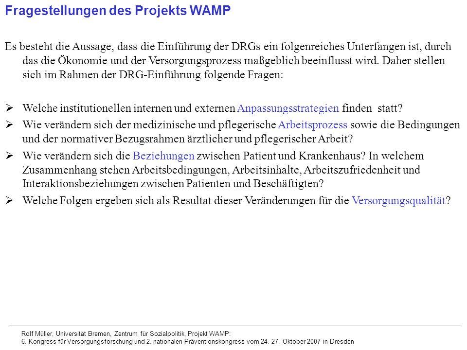 Fragestellungen des Projekts WAMP