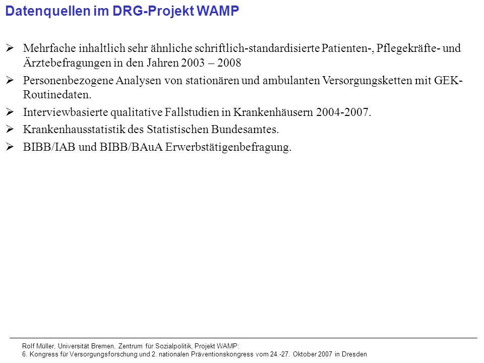 Datenquellen im DRG-Projekt WAMP