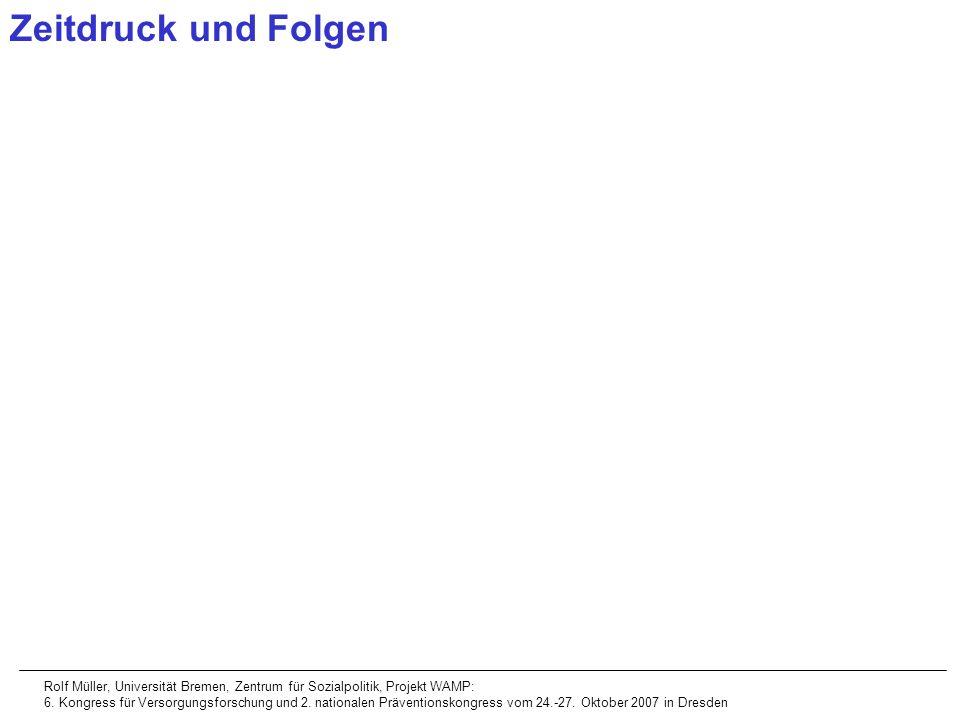 Zeitdruck und Folgen Rolf Müller, Universität Bremen, Zentrum für Sozialpolitik, Projekt WAMP: