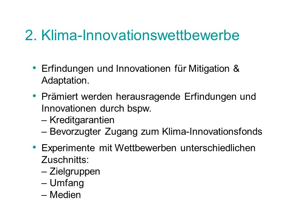 2. Klima-Innovationswettbewerbe