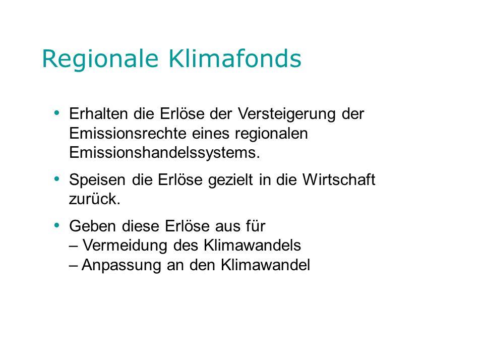 Regionale Klimafonds Erhalten die Erlöse der Versteigerung der Emissionsrechte eines regionalen Emissionshandelssystems.