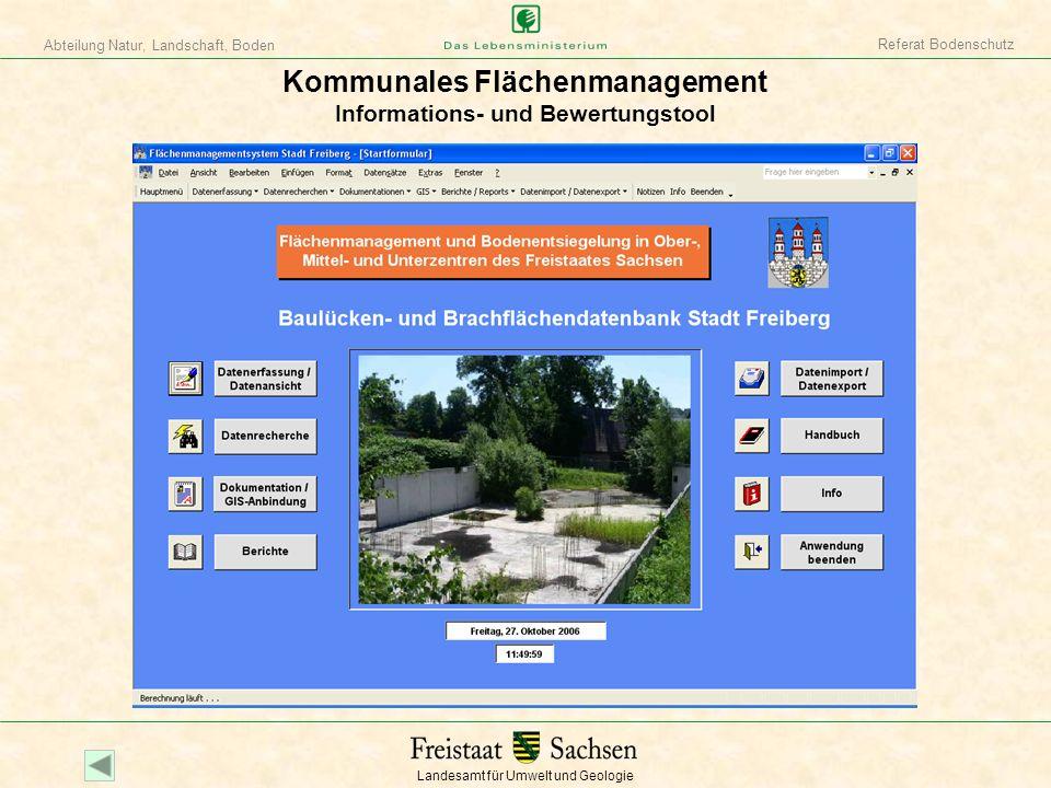 Kommunales Flächenmanagement Informations- und Bewertungstool