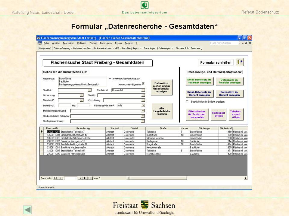 """Formular """"Datenrecherche - Gesamtdaten"""