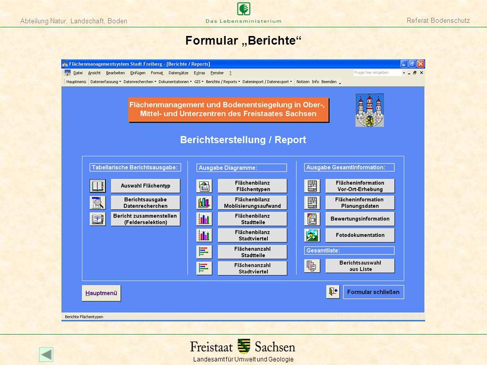 """Referat Bodenschutz Formular """"Berichte"""