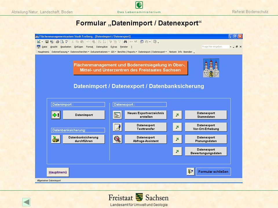 "Formular ""Datenimport / Datenexport"