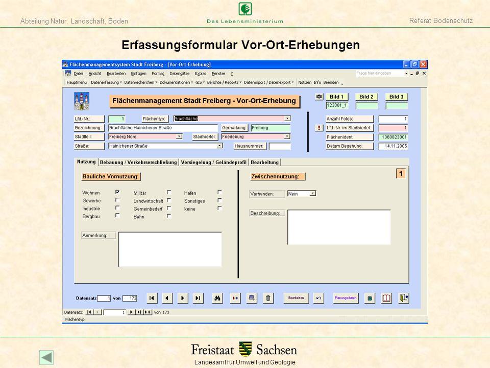 Erfassungsformular Vor-Ort-Erhebungen