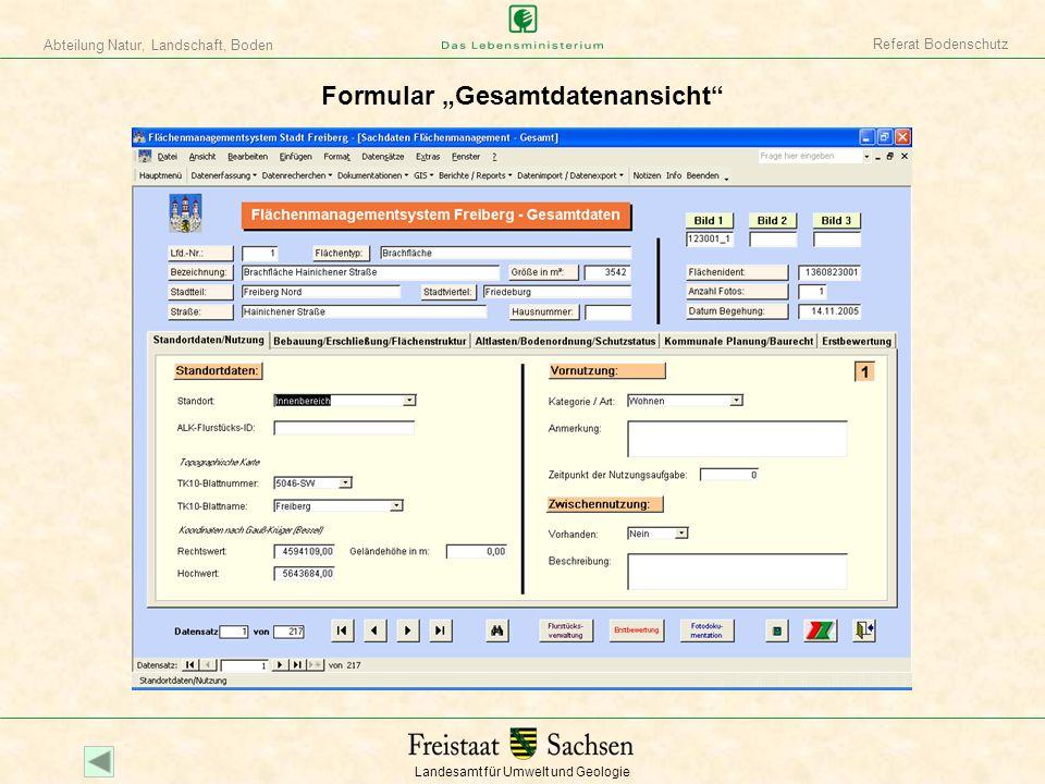 """Formular """"Gesamtdatenansicht"""