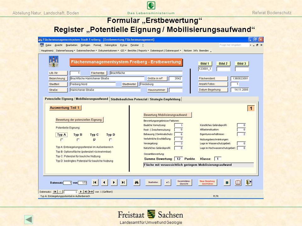 """Referat Bodenschutz Formular """"Erstbewertung Register """"Potentielle Eignung / Mobilisierungsaufwand"""