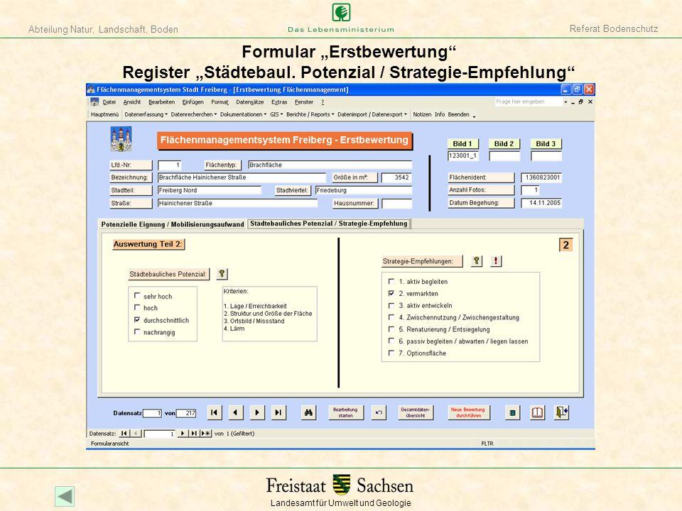 """Referat Bodenschutz Formular """"Erstbewertung Register """"Städtebaul. Potenzial / Strategie-Empfehlung"""