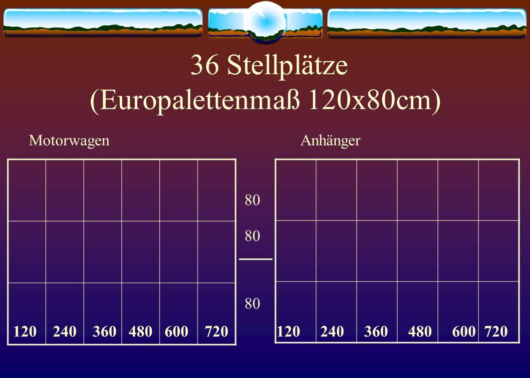 36 Stellplätze (Europalettenmaß 120x80cm)