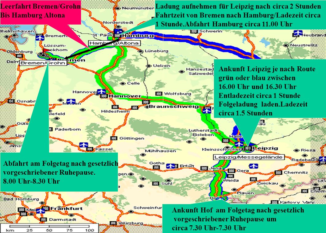 Rückfahrt ab Hamburg/Altona nach Leipzig zum Messegelände