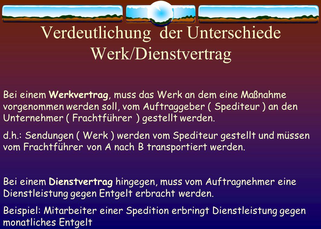 Verdeutlichung der Unterschiede Werk/Dienstvertrag