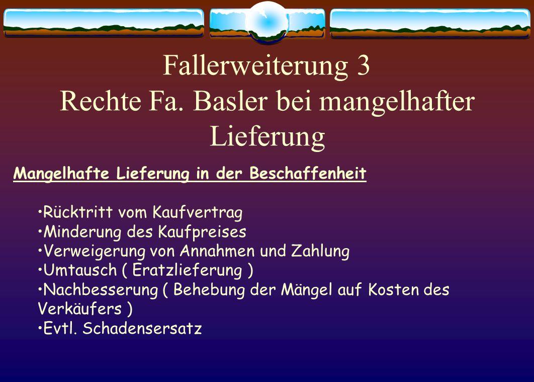 Fallerweiterung 3 Rechte Fa. Basler bei mangelhafter Lieferung