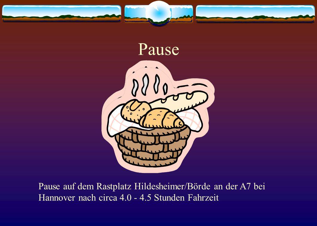 Pause Pause auf dem Rastplatz Hildesheimer/Börde an der A7 bei Hannover nach circa 4.0 - 4.5 Stunden Fahrzeit.