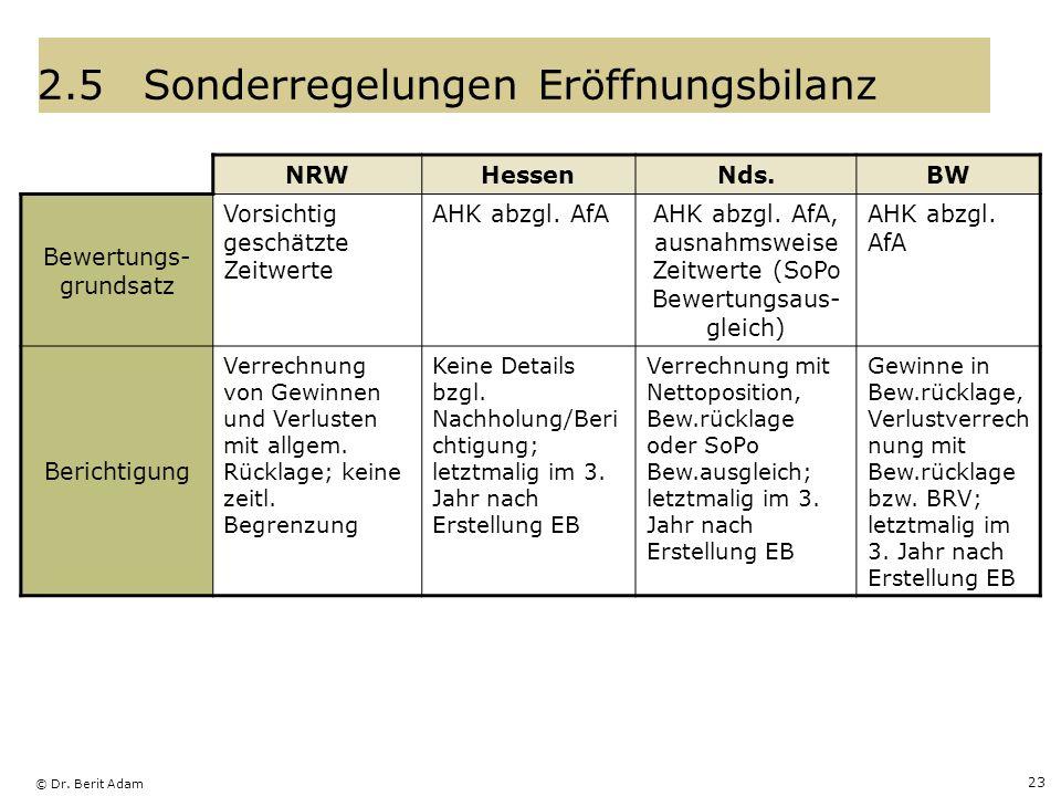 2.5 Sonderregelungen Eröffnungsbilanz