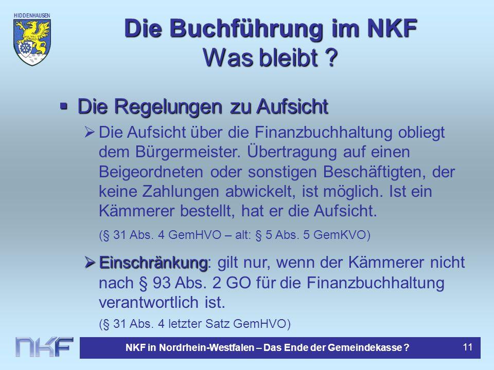 Die Buchführung im NKF Was bleibt