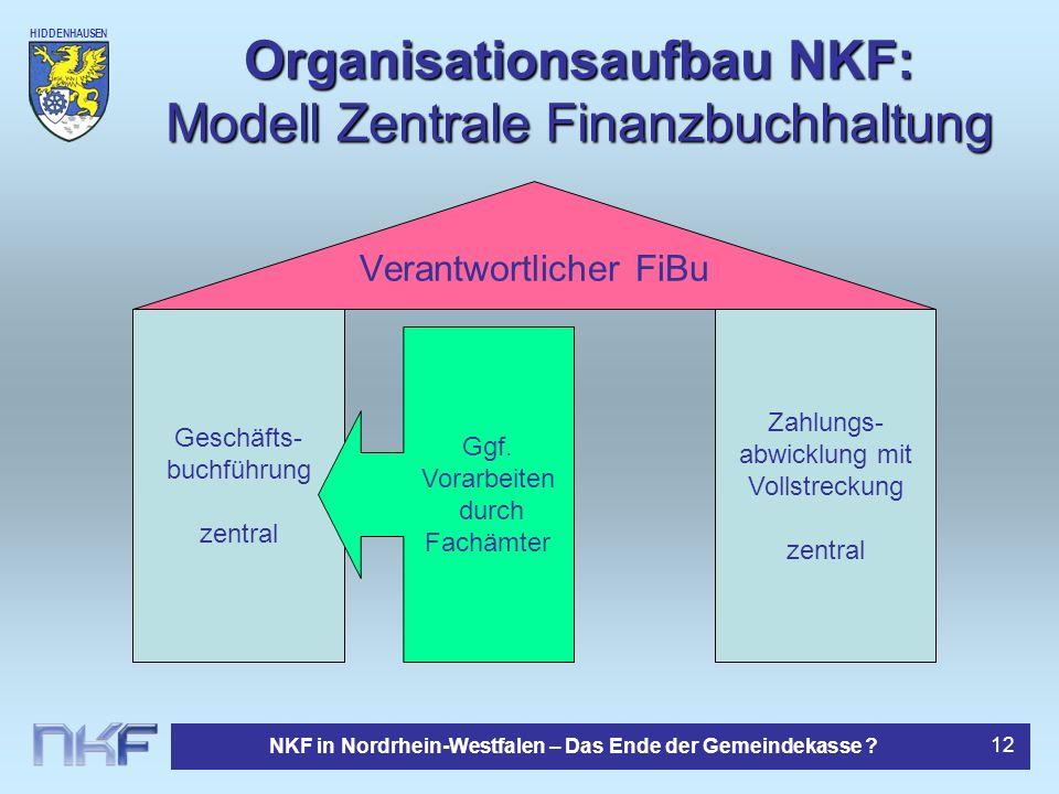 Organisationsaufbau NKF: Modell Zentrale Finanzbuchhaltung