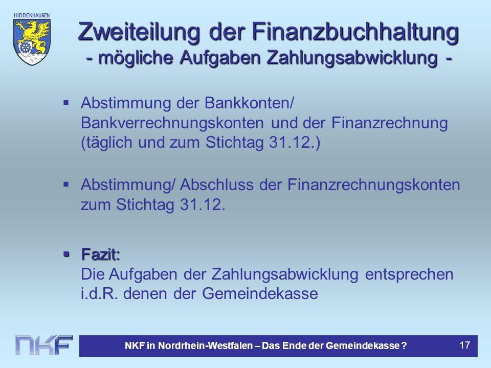 Zweiteilung der Finanzbuchhaltung - mögliche Aufgaben Zahlungsabwicklung -