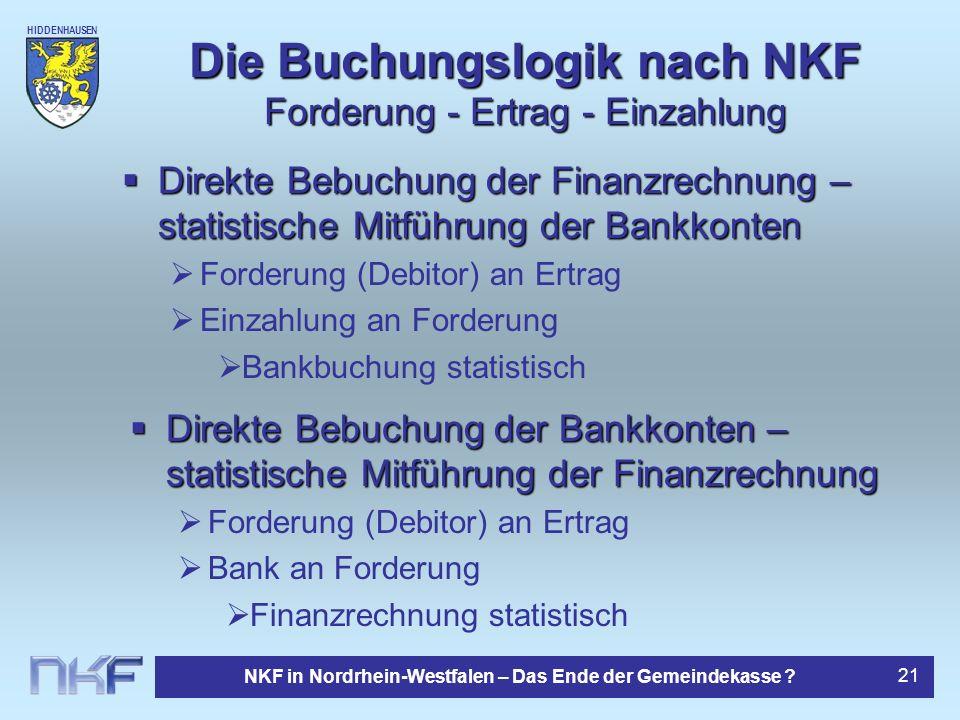 Die Buchungslogik nach NKF Forderung - Ertrag - Einzahlung