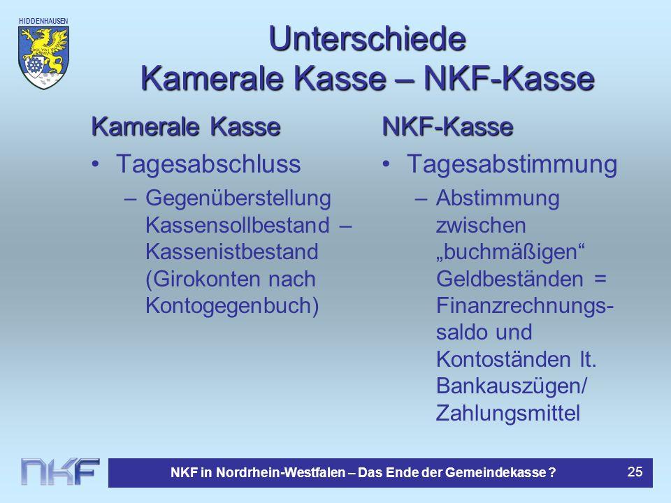 Unterschiede Kamerale Kasse – NKF-Kasse