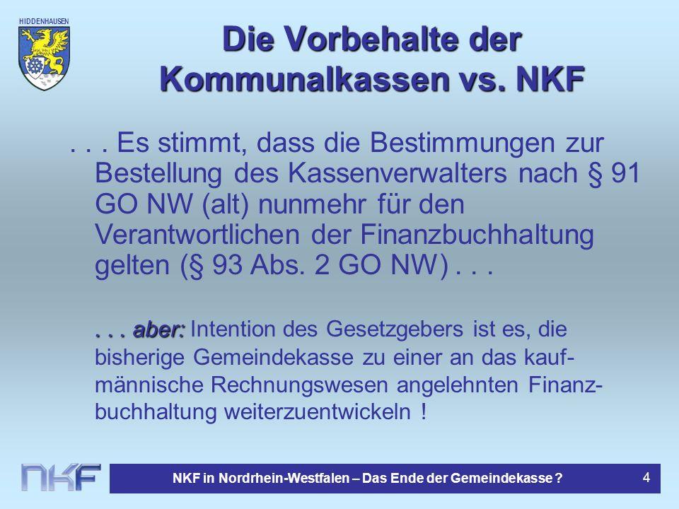 Die Vorbehalte der Kommunalkassen vs. NKF