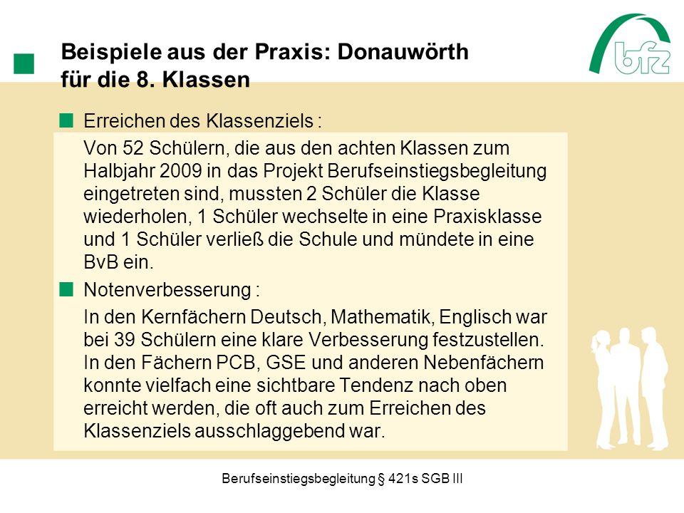 Beispiele aus der Praxis: Donauwörth für die 8. Klassen