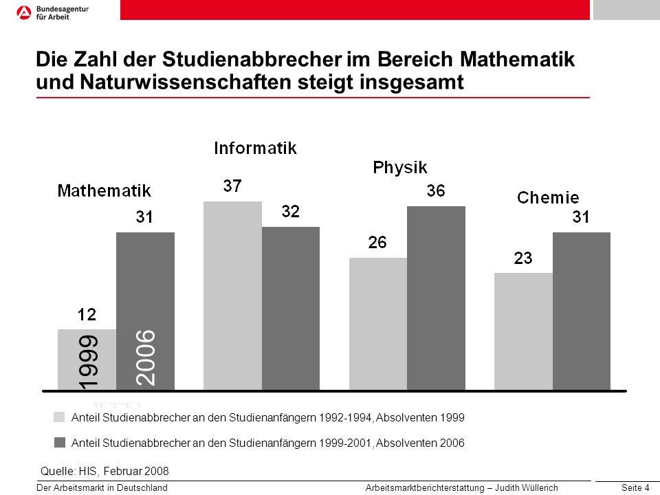 Die Zahl der Studienabbrecher im Bereich Mathematik und Naturwissenschaften steigt insgesamt