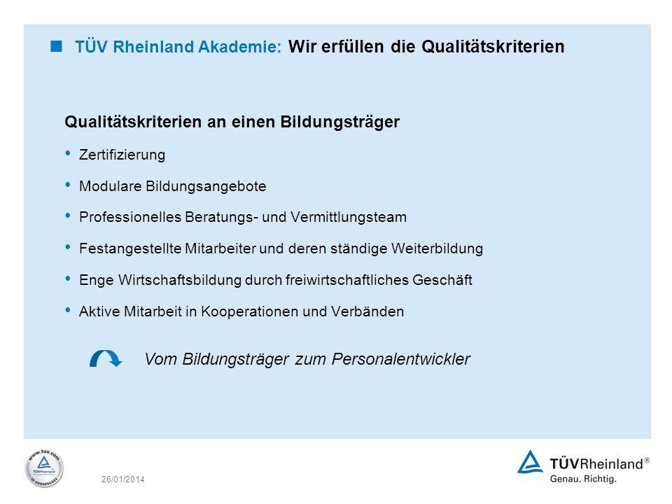 TÜV Rheinland Akademie: Wir erfüllen die Qualitätskriterien