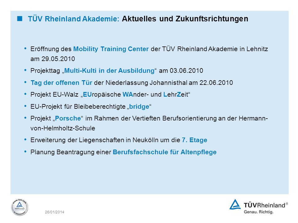 TÜV Rheinland Akademie: Aktuelles und Zukunftsrichtungen