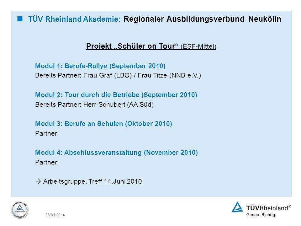 "Projekt ""Schüler on Tour (ESF-Mittel)"
