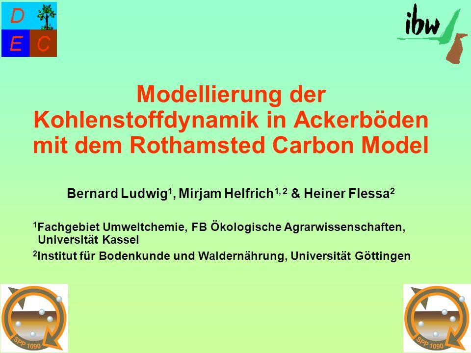 Modellierung der Kohlenstoffdynamik in Ackerböden mit dem Rothamsted Carbon Model Bernard Ludwig1, Mirjam Helfrich1, 2 & Heiner Flessa2