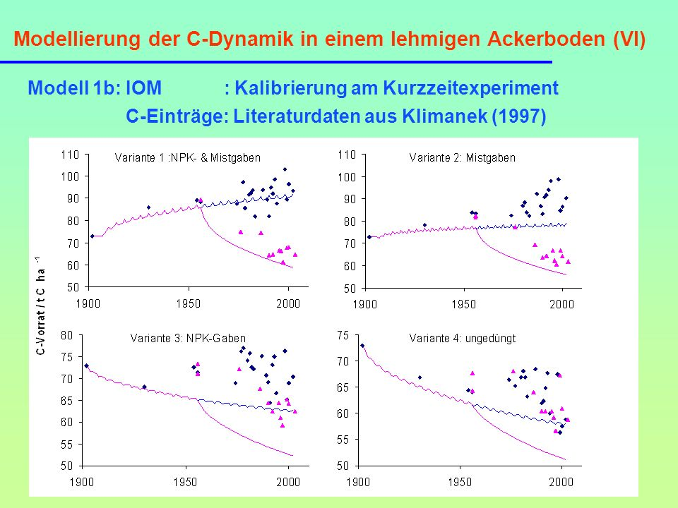 Modellierung der C-Dynamik in einem lehmigen Ackerboden (VI)