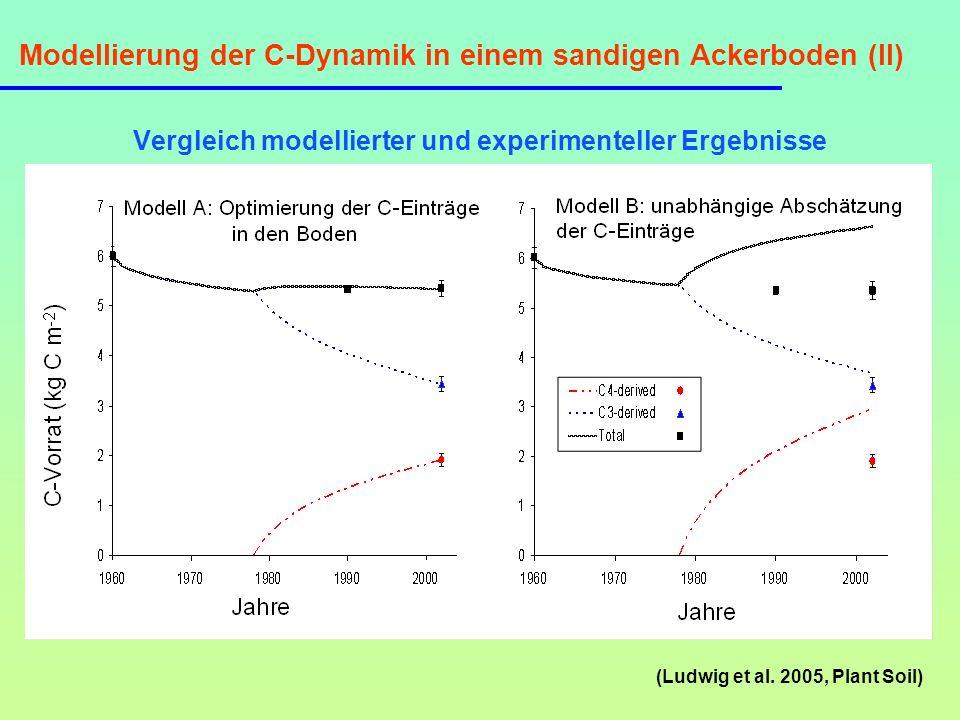 Modellierung der C-Dynamik in einem sandigen Ackerboden (II)