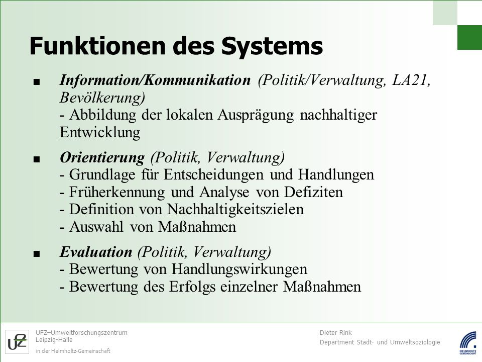 Funktionen des Systems