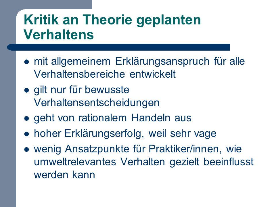 Kritik an Theorie geplanten Verhaltens