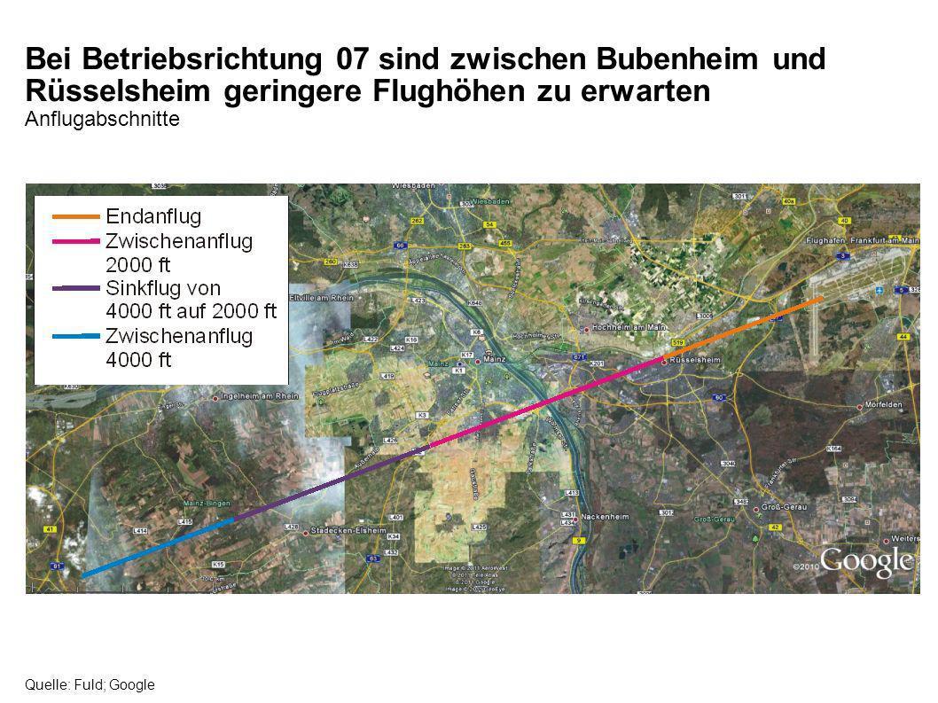 Bei Betriebsrichtung 07 sind zwischen Bubenheim und Rüsselsheim geringere Flughöhen zu erwarten