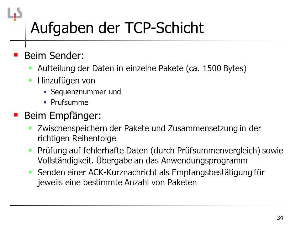 Aufgaben der TCP-Schicht