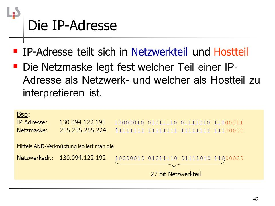 Die IP-Adresse IP-Adresse teilt sich in Netzwerkteil und Hostteil