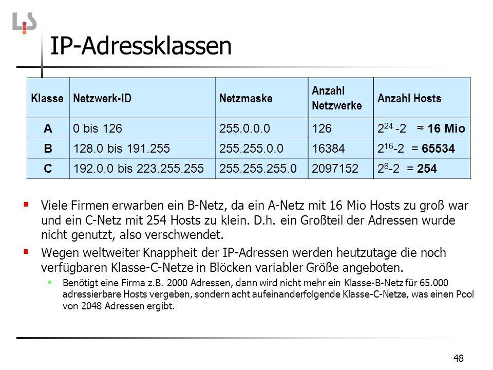 IP-Adressklassen Klasse Netzwerk-ID Netzmaske Anzahl Netzwerke