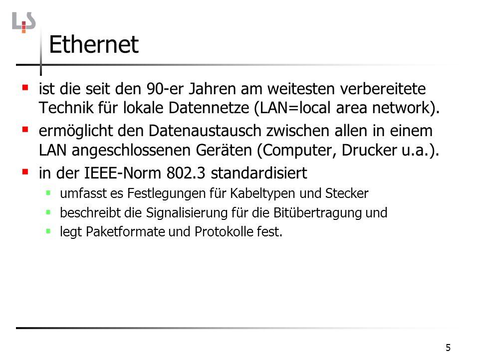 Ethernet ist die seit den 90-er Jahren am weitesten verbereitete Technik für lokale Datennetze (LAN=local area network).