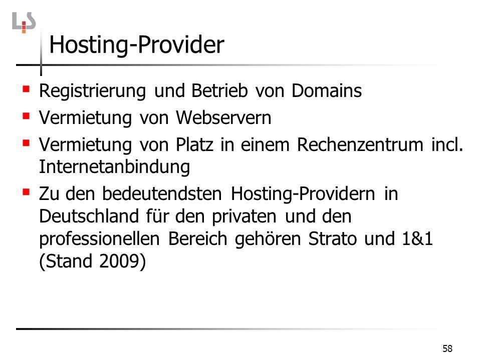 Hosting-Provider Registrierung und Betrieb von Domains